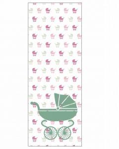 Behang paneel kinderwagen groen roze