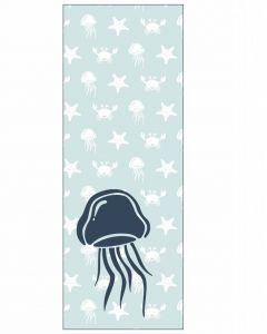 Behang paneel met zeedieren kwal blauw