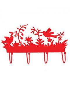 Kapstok met vogeltjes rood