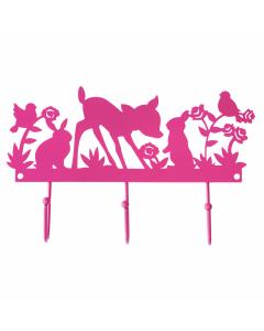Kapstok metaal hertjes roze