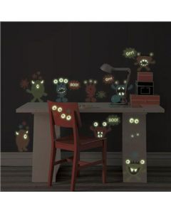 Muursticker kinderkamer set monsters glow in the dark