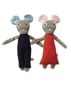 Knuffel muis rood of blauw