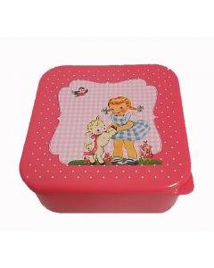 Lunchbox met meisje retro