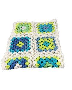 Deken Maxi-Cosi gehaakt wit groen blauw