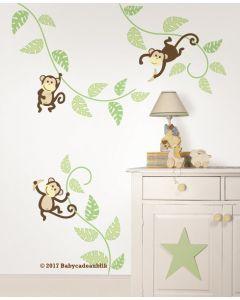 Muursticker babykamer met aap