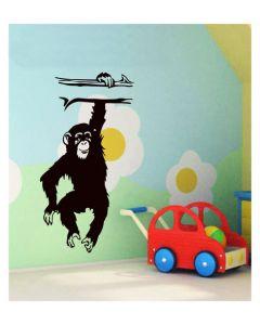 Muursticker met aap velours