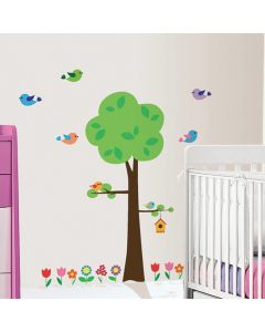 Muursticker set boom vogels
