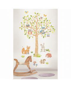 Muursticker babykamer boom met dieren uit het bos