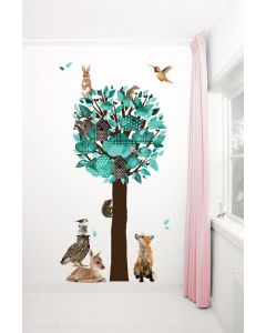 Muursticker boom Forest Friends XL turquoise