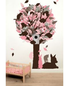 Muursticker boom babykamer Fabric Friends Tree roze groen of turquoise