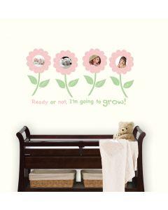 Muursticker fotolijst babykamer bloemen