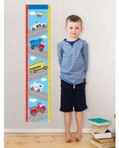 Muursticker jongenskamer groeimeter transport auto's