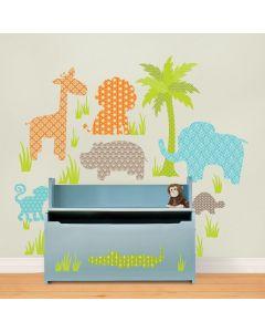 Muurstickers jungle dieren voor de babykamer