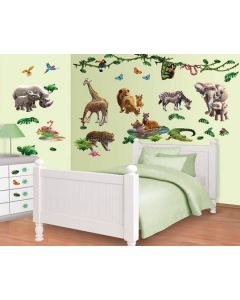 Muurstickers jungle Decor Kit Walltastic jongenskamer dieren