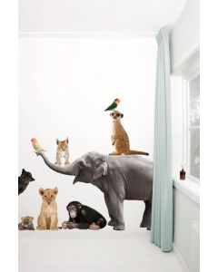 Muursticker set Safari Friends Set Olifant Xl met 9 dieren babykamer