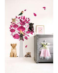 Muursticker boom wilde dieren Safari Friends roze