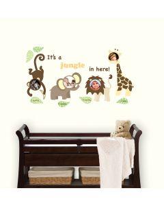 Muursticker babykamer set met jungle dieren en fotolijst