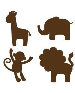 Muursticker set jungle dieren babykamer