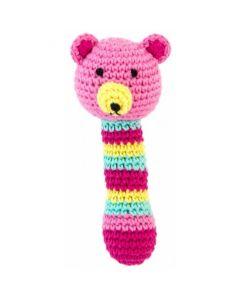 Rammelaar beer roze gehaakt