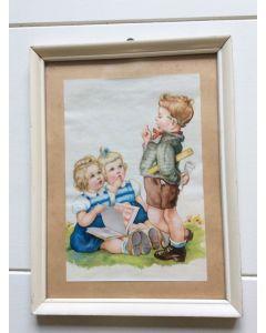 Retro print met jongen en 2 meisjes