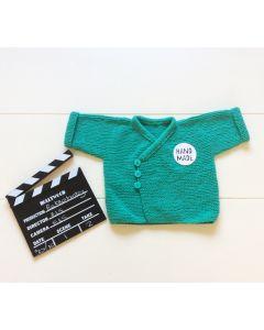 Vest baby gebreid groen 2-6 maanden